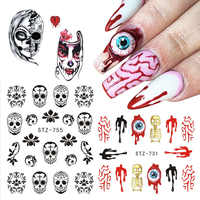 1 stücke Halloween Wasser Transfer Nagel Aufkleber Schädel Geister Clown Wasser Decals Nails art Maniküre Dekoration Sliders JISTZ731-757