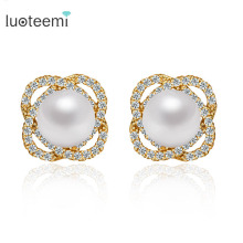 LUOTEEMI Design Charm Trendy Vintage Style Round AAA White Imitation Shell Pearl Stone Earrings for Women Bridal Wedding Jewelry