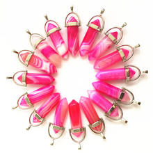 Natural Stone Rose Red Agates Pendants Reiki Healing Point Charms For Necklace Making Diy  Accessories Wholesale 24PCS