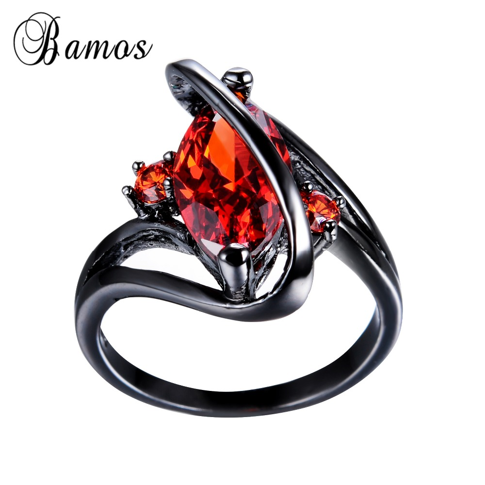 Retro Vintage Women Men Red Aaa Cz Stone Ring Black Gold Filled Wedding  Party S Style