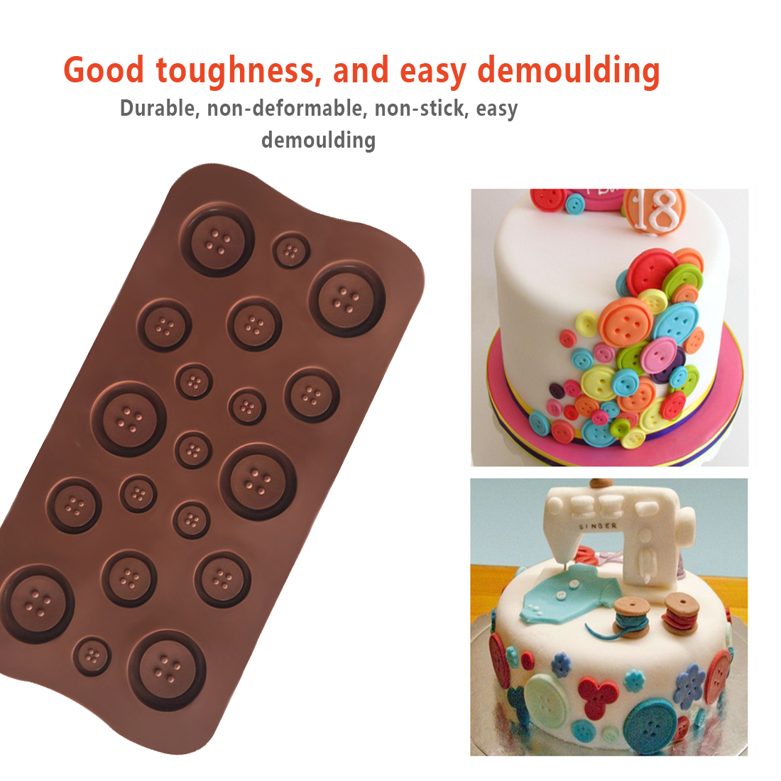 Button Shape Silicone Mold Jelly Soap Chocolate Mould DIY Baking Cake Decorating Tools Kitchen Accessories Bakeware