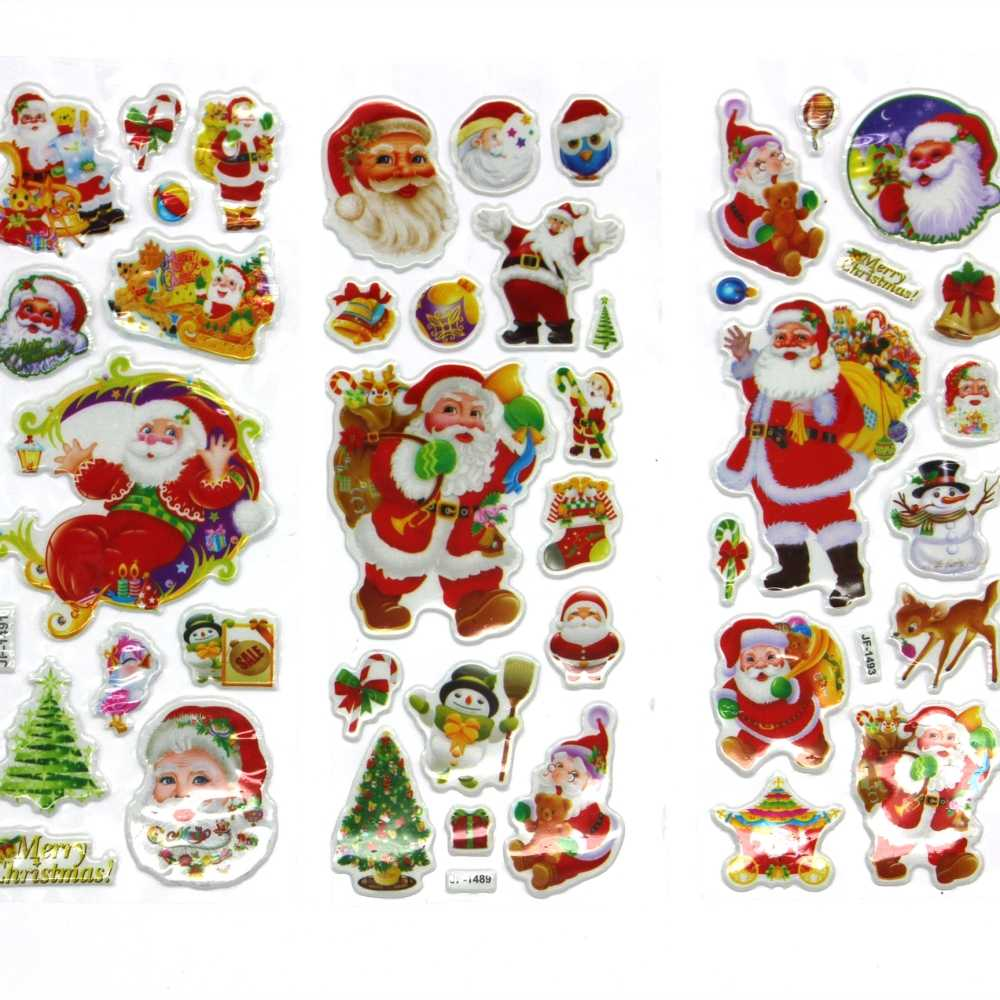 6 Sheets/set Small Christmas gift Santa bubble stickers  send Kids as a Christmas present  Christmas decoration