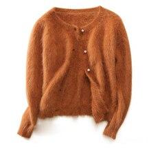 Блузка из натуральной норки, кашемировый свитер с пуговицами, кашемировые кардиганы, женская одежда, низкая Скидка, tsr590