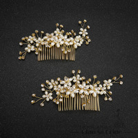 Fashion Hair Combs Pearl Jewelry Crystal Women Hairpins Bridal Gold Plated Hair Ornament Handmade Wedding Accessories