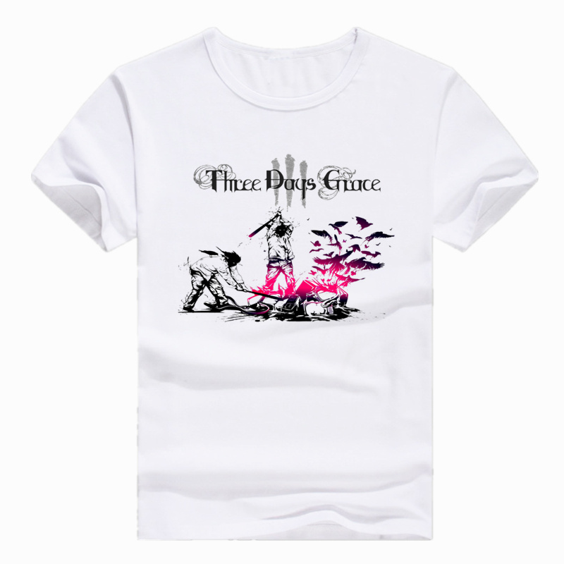 Asian Size Print Three Days Grace Music Band Fashion   T  -  shirt   Short sleeve O-Neck   T     shirt   For Men And Women HCP4204