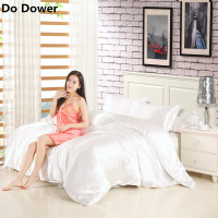 Classic Imitate Silk Feel Satin Solid Flat Sheet Fitted Sheet Duvet Cover Set Bedclothes Beding Sets