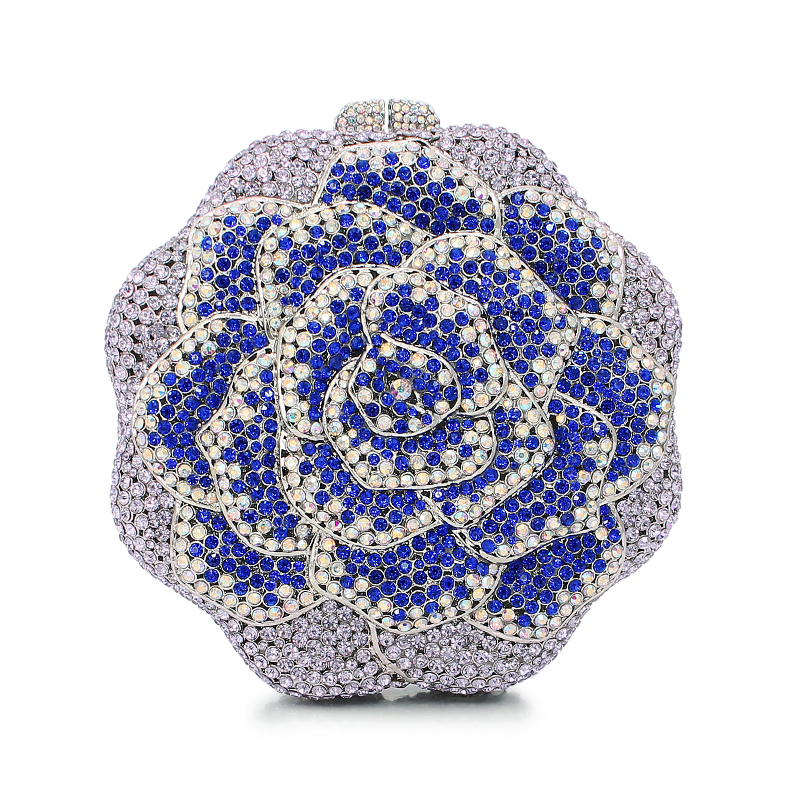 Fashion Women Luxury Crystal Clutch Evening Bag Colorful Flower Shape Wedding Clutch Purse Diamonds Party Handbags(8679A-SB)