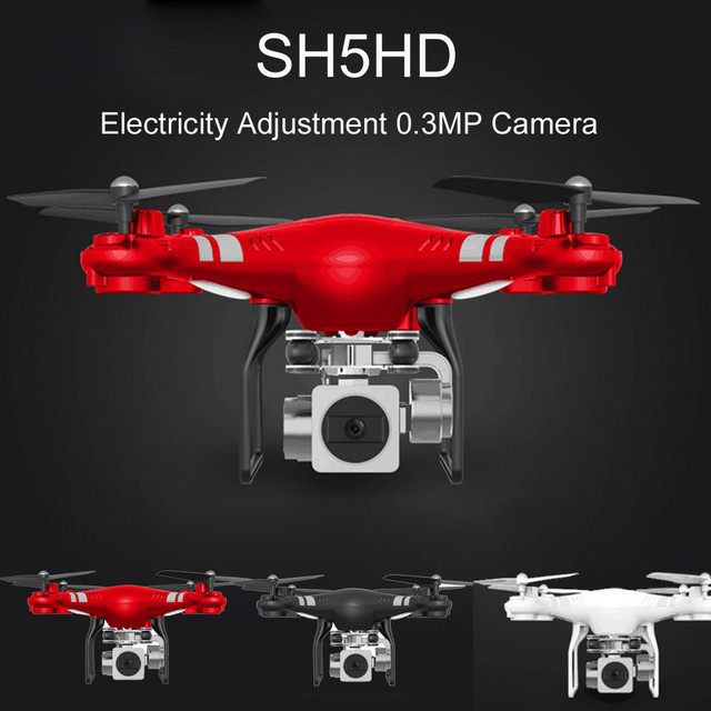 Hiinst SH5HD 2.4G RC Quadcopter 2.4GHz 4 Channels 6 Axis Gyro RC Drone With Electricity Adjustment 0.3MP HD Camera Kid Best Gift