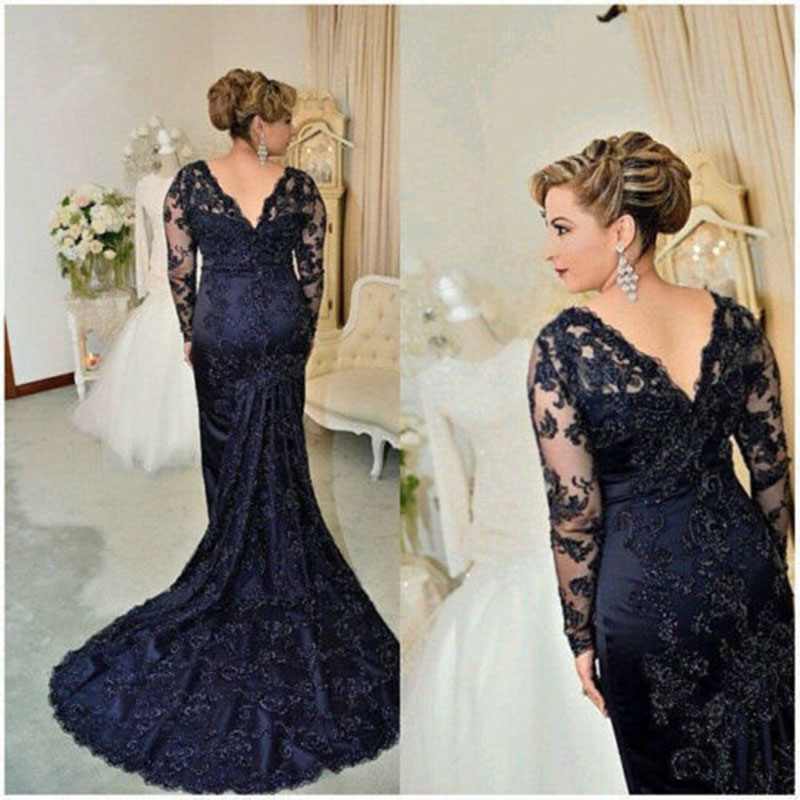 Vintage Lace Navy Blue Mother Of The Bride Dress 2017 V Neck Long Sleeve Beads Evening Gown Vestidos Para Mae Da Noiva Free Ship In
