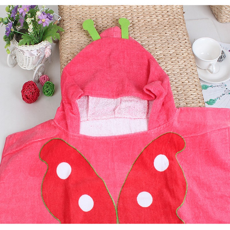 Pure Cotton Baby Cartoon Modelling Hooded Towel Bathrobe Baby Butterfly Picture Bath Phi Beach Towels 85*60cm