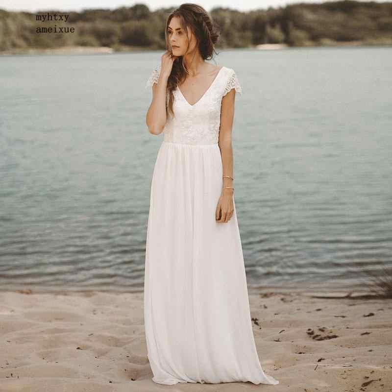Дешевые пляжные свадебное платье 2019 V шеи Кепки рукавом шифоновое платье трапециевидной формы юбка кружевной топ с открытой спиной Boho Свадебное платье невесты платье