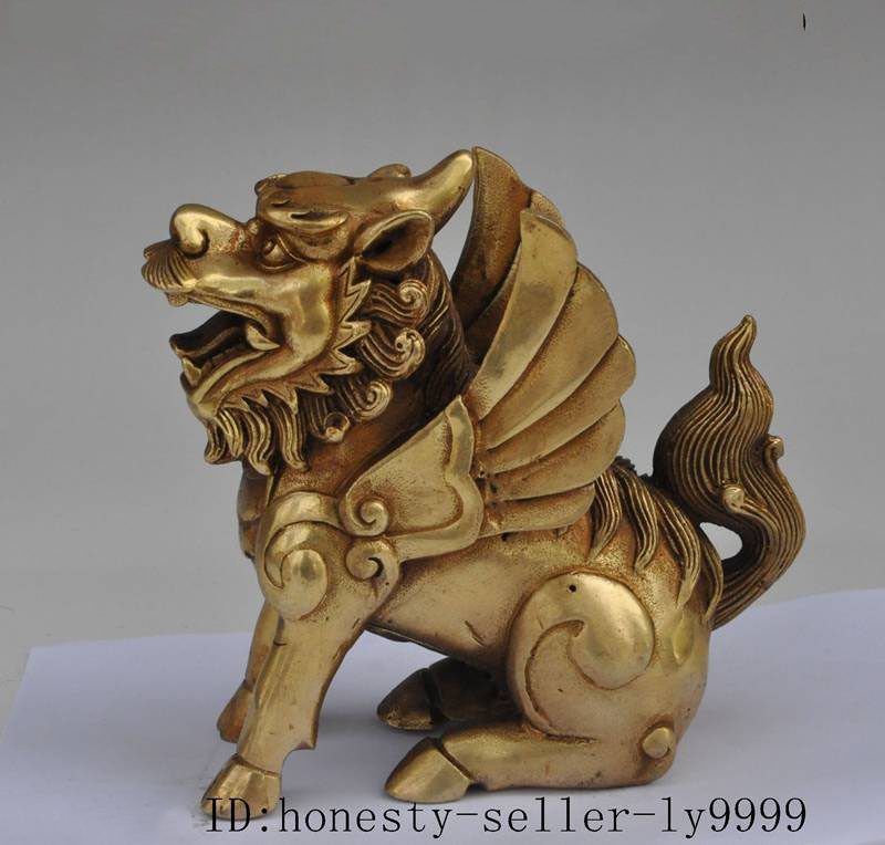 Crafts statue chinese fengshui brass copper evil spirits Unicorn wing beast lucky fu statue halloweenCrafts statue chinese fengshui brass copper evil spirits Unicorn wing beast lucky fu statue halloween