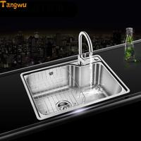 Kitchen Sinks Free shipping sink single slot package stainless steel sink single groove slot package vegetable washing basin wa