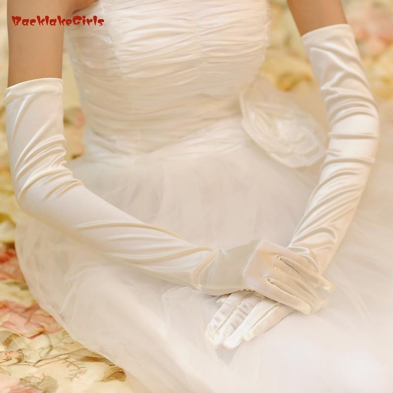 BacklakeGirls Hot Sale Cheap In Stock Wedding Gloves Simple Satin Bridal Glove Long Gants De Noce Ivoire Wedding Accessories