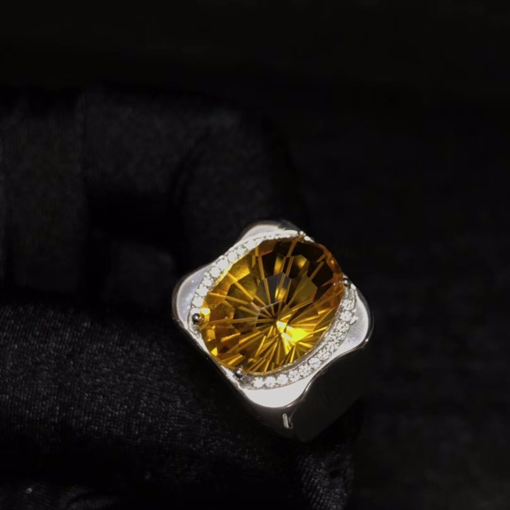 Natural citrine men s ring beautiful gem from Brazil 925 sterling silver precision manufacturing