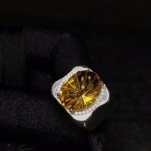 Image 1 - 天然シトリン男性のリング、美しい宝石からブラジル、 925 スターリングシルバー、精密製造