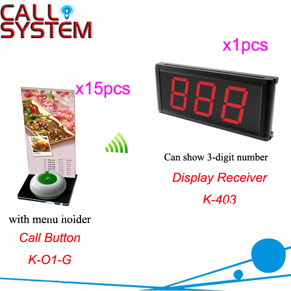 Wireless Paging System K-403+O1-G+H for Restaurant Cafe Hotel with 1-key call button and 3-digit LED display Free Shipping new customer call button system for restaurant cafe hotel with 15 call button and 1 display shipping free