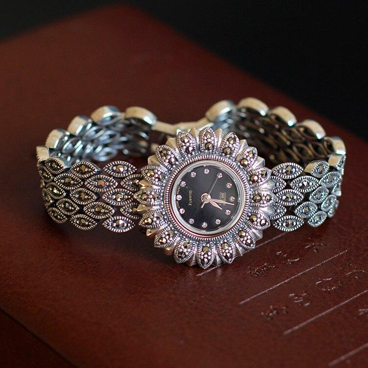 Gros S925 ornements en argent pur Thai classique femme de tournesol bracelet montres