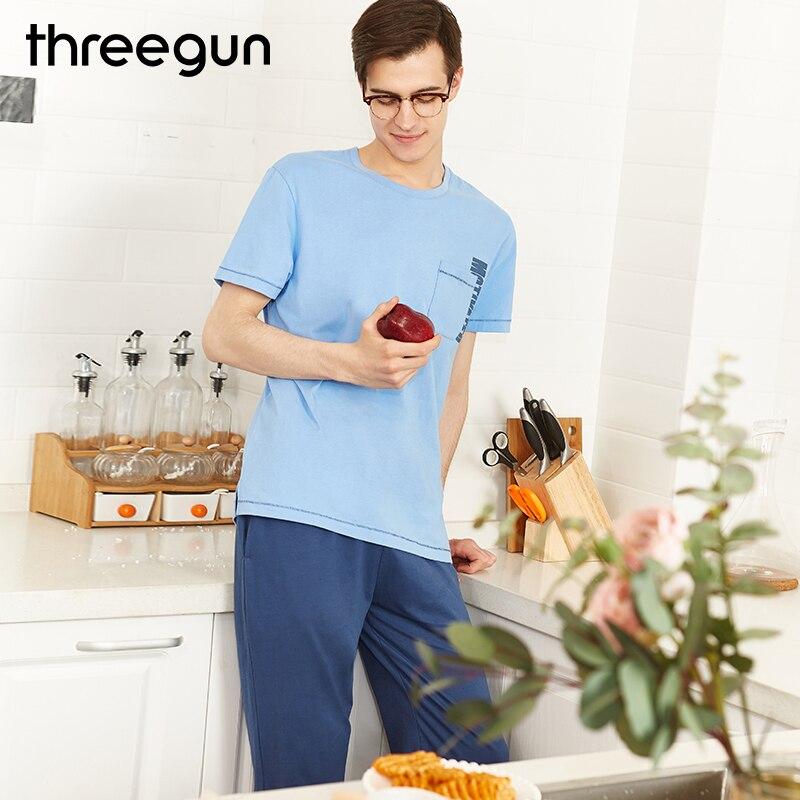 THREEGUN Casual Mens Pajamas Set Sleepwear pijamas Soft cotton round collar T shirts trousers male Sleepshirts