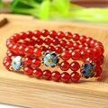 Rojo Natural de Ágata de Color Rosa de 3 Capas de Diseño Original de Las Señoras Accesorios de la Flor de Oro Plateado Pulsera de Moda Rosario Tibetano Pulsera
