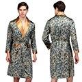 2016 Mens De Lujo Satén de Seda Pijamas Kimono Túnica Masculina de Manga Larga ropa de Dormir Bata de Baño Pijamas Más El Tamaño de Alta Calidad