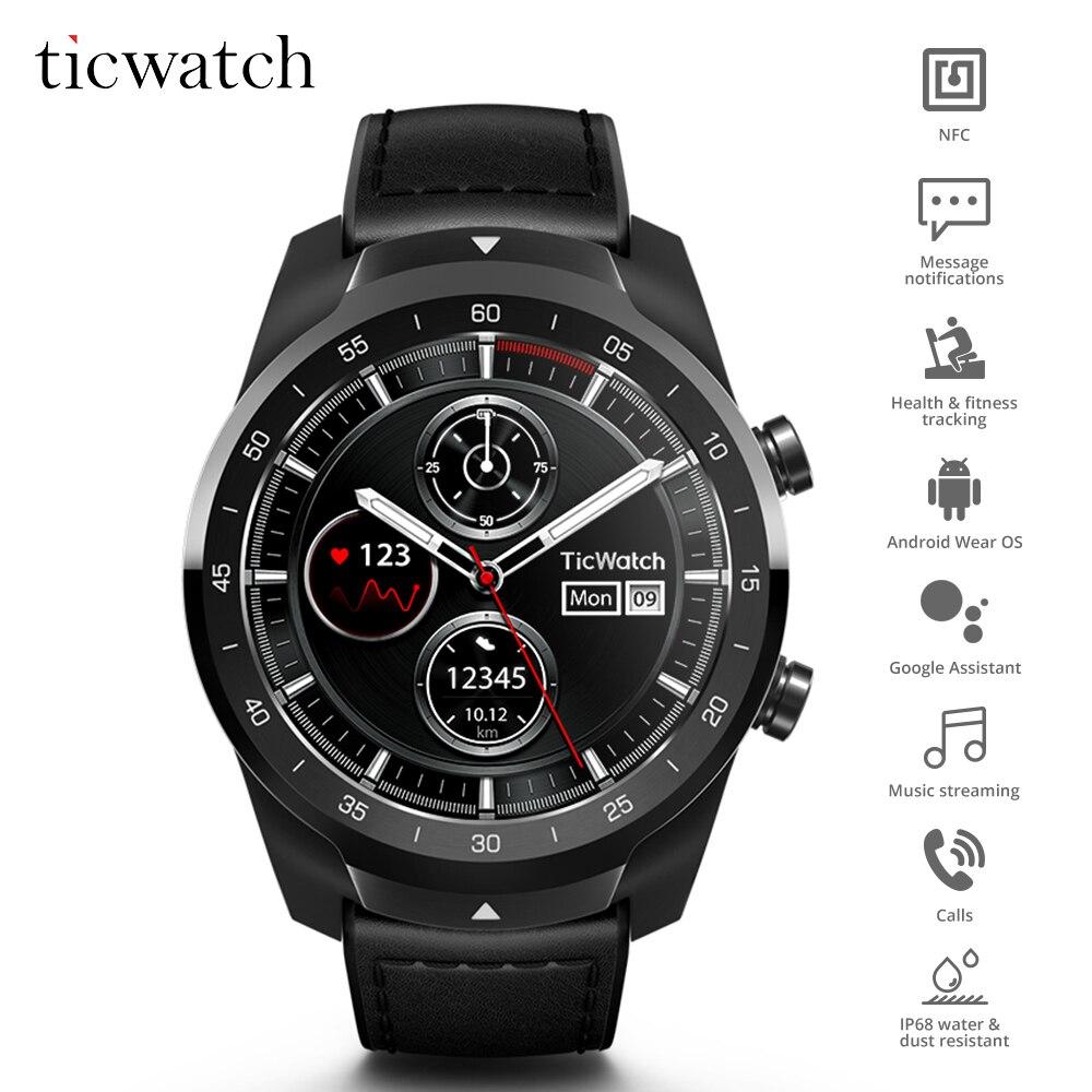 Ticwatch Pro reloj inteligente Bluetooth IP68 de pantalla Pagos NFC/Asistente de Google llevar OS Google 415 mAH ver
