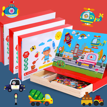 лучшая цена Kids Toys Wooden Toys Cartoon Wooden Magnetic Animal Traffic Jigsaw Puzzle Drawing Board Learning Educational Toys For Children
