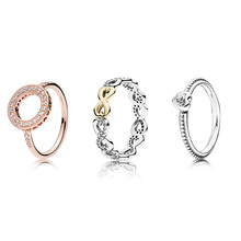 925 Silver Ring Charm Rose Gold Forever Love Style CZ Crystal Finger Rings For Women Jewelry fashion love forever rose pattern bracelet silver