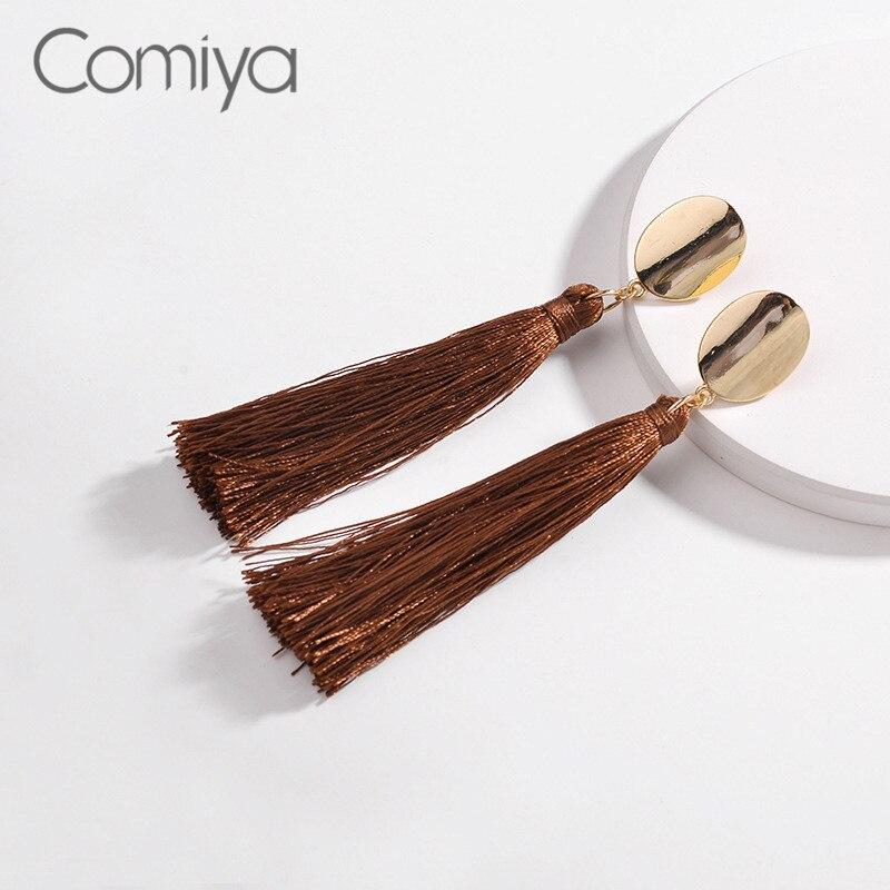 Comiya Boho Earrings Brown Color Tassel Line Elegant Accessories Europe Fashion Zinc Alloy Dangle Earring For Women Oorbellen