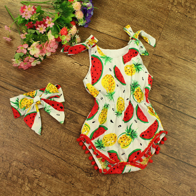 17d0a998826e 2017 Summer Baby Rompers Girls Cotton Fruit Printed Sleeveless Ruffles  Jumpsuits With Headband Infant Roupas Kids Clothing