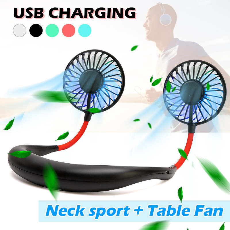 2000 mAre USB Portable Fan Hands-free Neck Fan Hanging Rechargeable Mini Sports Fans 3 gears Air Conditioner Adjustable Home(China)