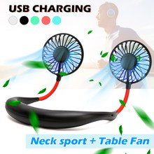 Mini USB Portable Fan Neck Fan Neckband With Rechargeable Battery Small Desk Fans handheld Air Cooler Conditioner for Room(China)