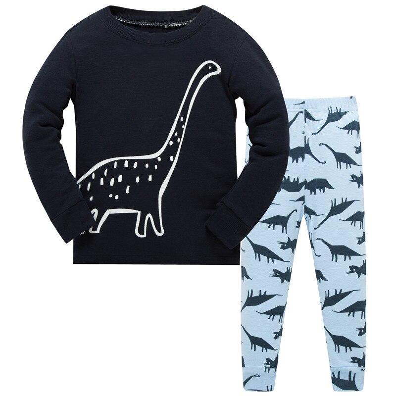 Crianças Pijama Definir Meninos teste padrão do Dinossauro Meninas Sleepwear 100% Pijamas de algodão Set Crianças Dos Desenhos Animados do pijama Conjunto de Roupas de Bebê