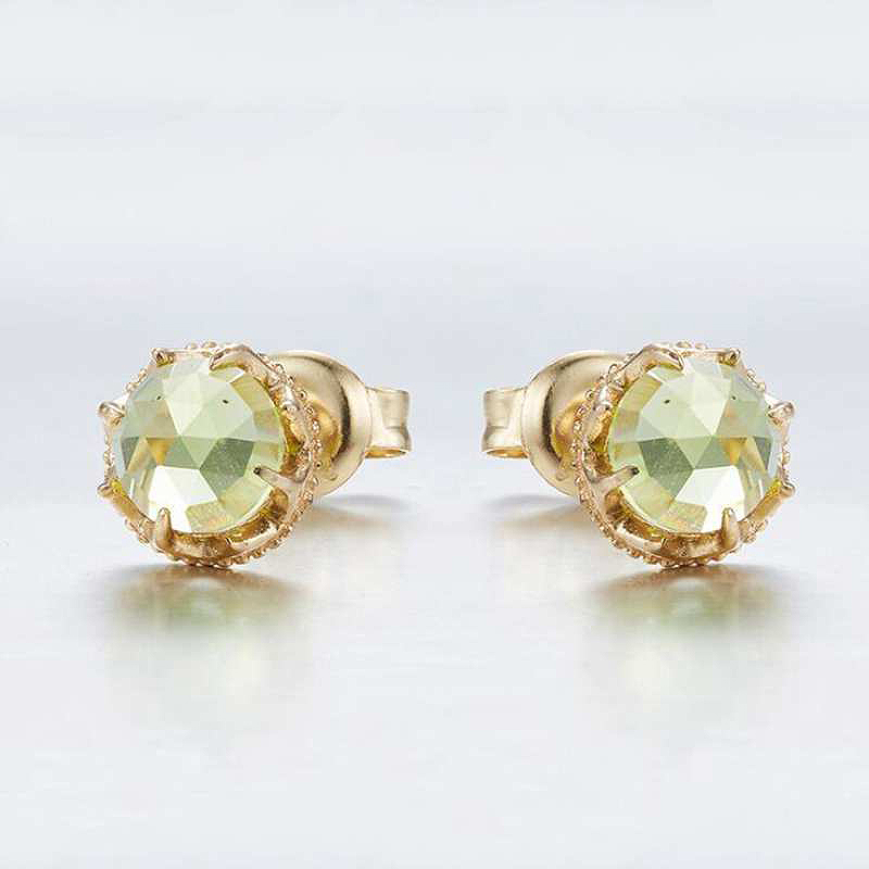 Ruifan Minimalism Round Natural Green Peridot Gemstone Stud Earrings for Women 14k Gold Color 925 Silver Small Earrings YEA115 pair of sweet candy color gemstone embellished earrings for women
