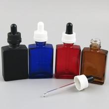200x30 мл квадратная плоская черная синяя красная Янтарная прозрачная белая стеклянная бутылка с сохранением капли 1 унции стеклянные контейнеры