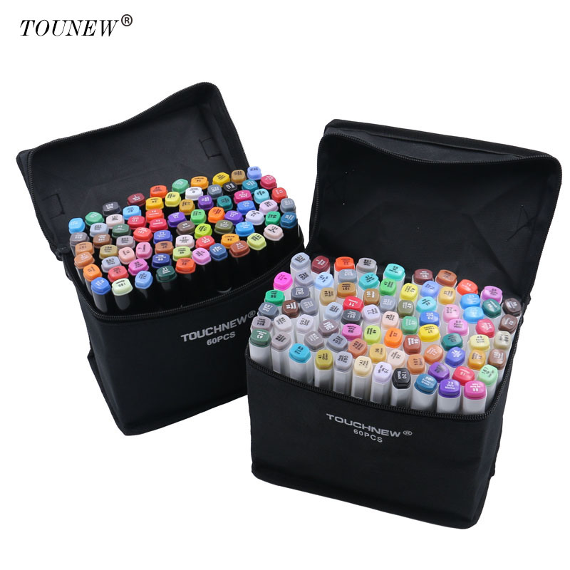 TOUCHNEW 60/80 Color Dual Head Art Marker Set Alcohol Sketch Markers Pen for Artist Drawing Manga Design Art Supplier dainayw 12 cool grey colors marker pen grayscale dual head art markers set for manga design drawing school student supplies