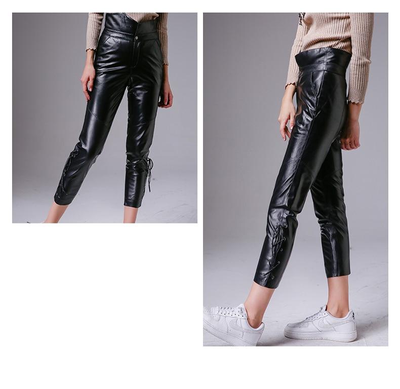 Moda Legging Suave Orange Oveja Lápiz Cintura Alta Ver Cuero Primavera Cremallera Negro Auténtico Pantalones Iq1Fq
