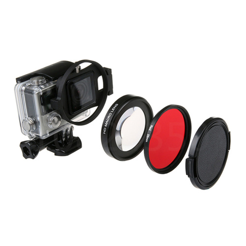 7 in 1 set 58mm HD Close-Up Macro Filter Lens 16X Magnification+Red Filter for xiaomi yi 2 4k 4K+ LITE Action Camera accessory