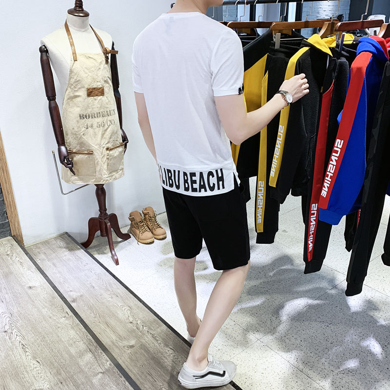 Summer Two Piece Shorts Set Men Brand Causal Beach Suits Short Sleeve 2pcs T Shirt Shorts Fashion Tracksuit Mens Sportsuits in Men 39 s Sets from Men 39 s Clothing