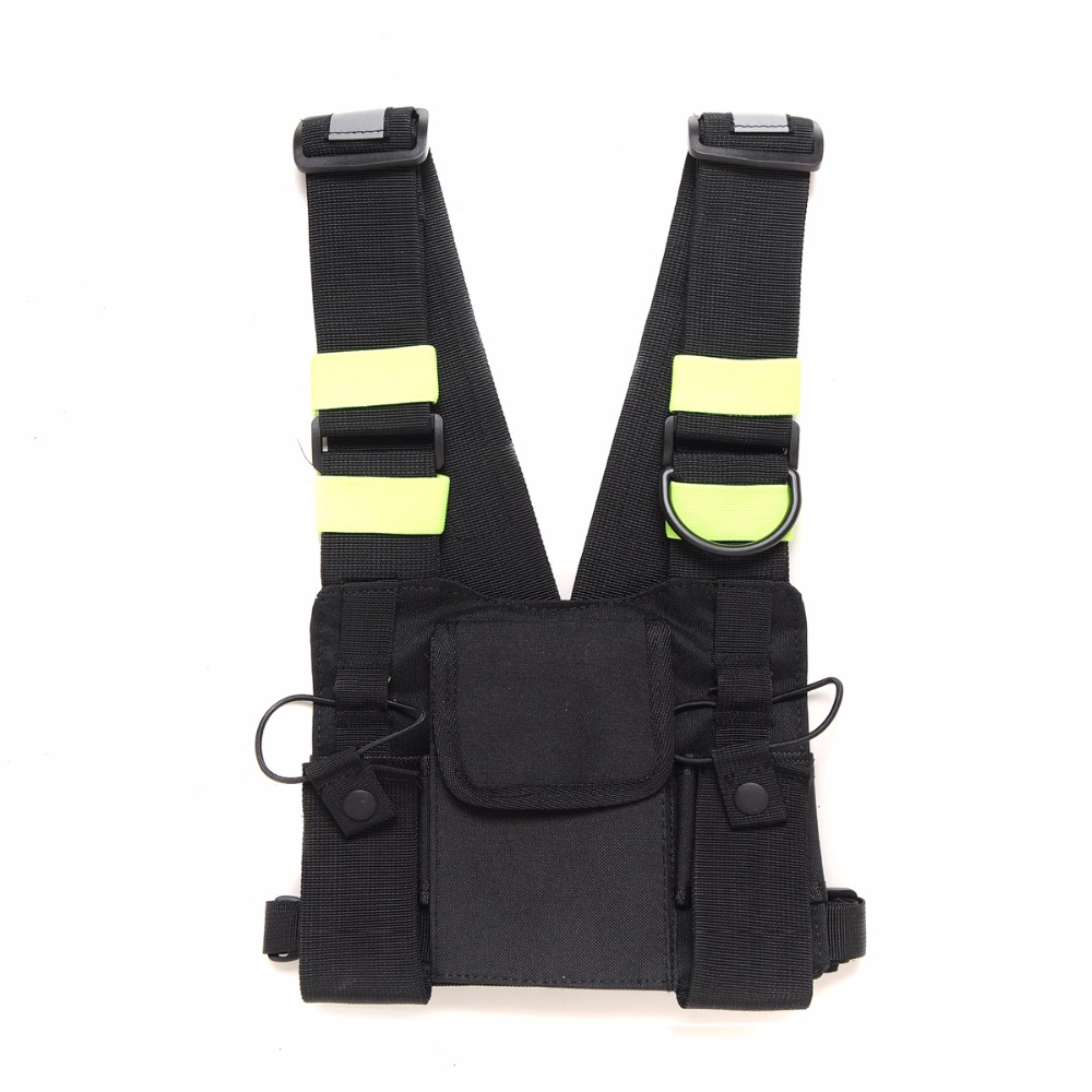 Abbree Bright Green Radio Chest Harness Chest Front Pack Pouch Holster Vest Rig Carry Case for Two Way Radio Walkie Talkie