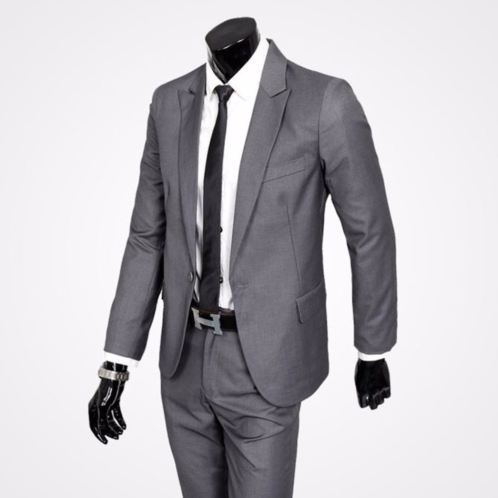 Men's Suits Suits Wedding Suits Formal Men's Suit Sets A Key Coat Trousers Light Gray Black Handsome Men's Cloth Jacket + Trouse