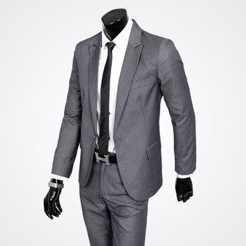 Men's suits suits wedding suits formal men's suit sets A key coat trousers light gray black handsome men's cloth jacket + trouse