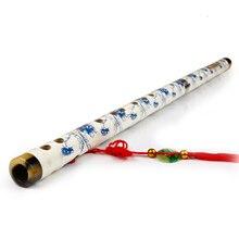 Синий и белый фарфор ручной работы бамбуковое дерево китайский Dizi музыкальные инструменты, флейта мембрана китайский