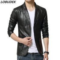 High Grade PU Leather Male Slim Jacket Coat Fashion Casual Suede Outerwear Of Autumn Spring Singer