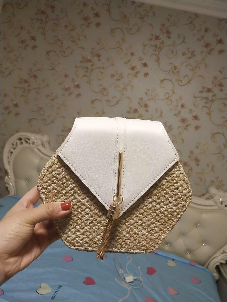 Hexagon Mulit Style Straw+leather Handbag Women Summer Rattan Bag Handmade Woven Beach Circle Bohemia Shoulder Bag New Fashion 6