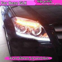 Автомобильный Стайлинг для Benz GLK 300 фары 2008-2012 GLK 300 светодиодный фары DRL Объектив двойной луч H7 HID Xenon bi xenon объектив