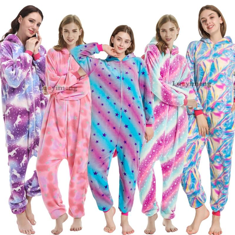 New Winter Unicorn Pajamas For Adults Cartoon Sleepwear Kigurumi Onesies Women Pijamas Unicornio Panda Anime Halloween Costumes