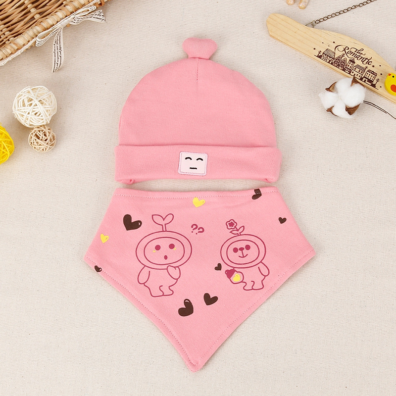 Baby Bibs+Hats 2Pcs Toddler Kids Cartoon Cotton Saliva Towel+Beanies Newborn Triangle Scarf Caps Infant Burp Clothes Baby Things