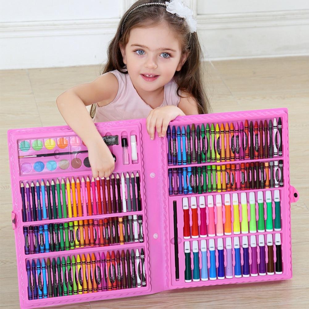 168PC Art Painting Watercolor Pen Set Pencil Crayon Eraser Pencil Sharpener Marker Pen Set Kindergarten Supplies Children's Gift