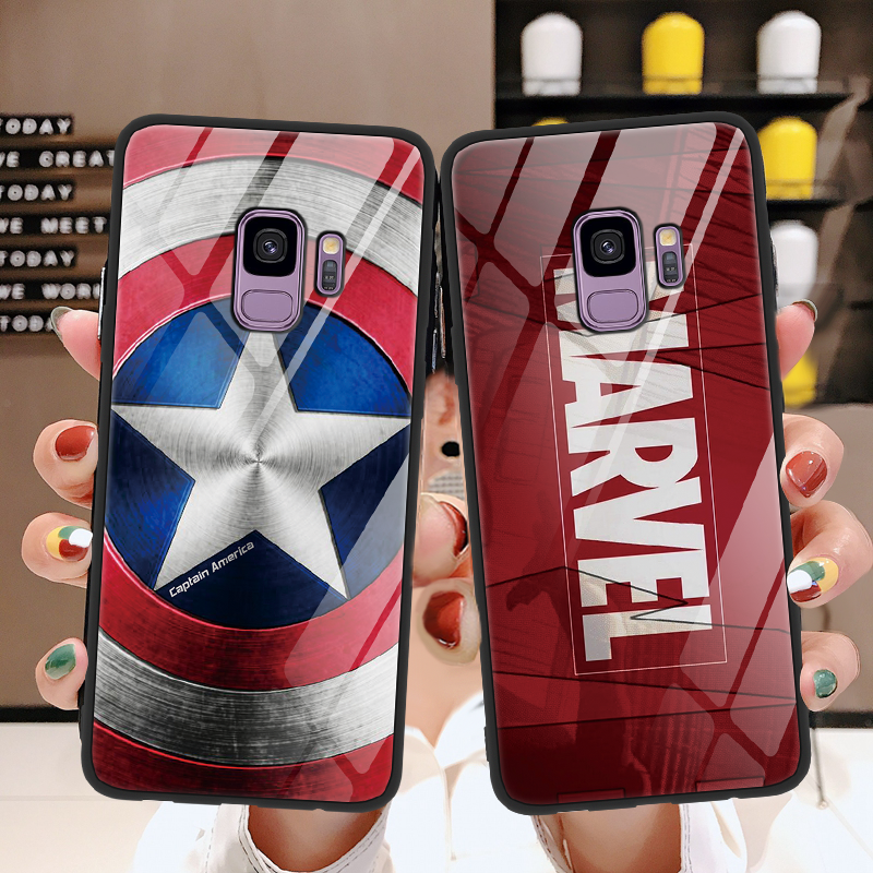 Captain America Shield Marvel Tempered Glass Cover For Samsung Galaxy S8 S9 A50 Plus Note8 Note9 A8 A7 2018 M10 M20 J4 Plus Case
